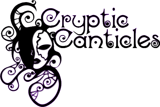 Cryptic Canticles logo with stylized opera mask